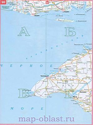 Карта западного побережья крыма