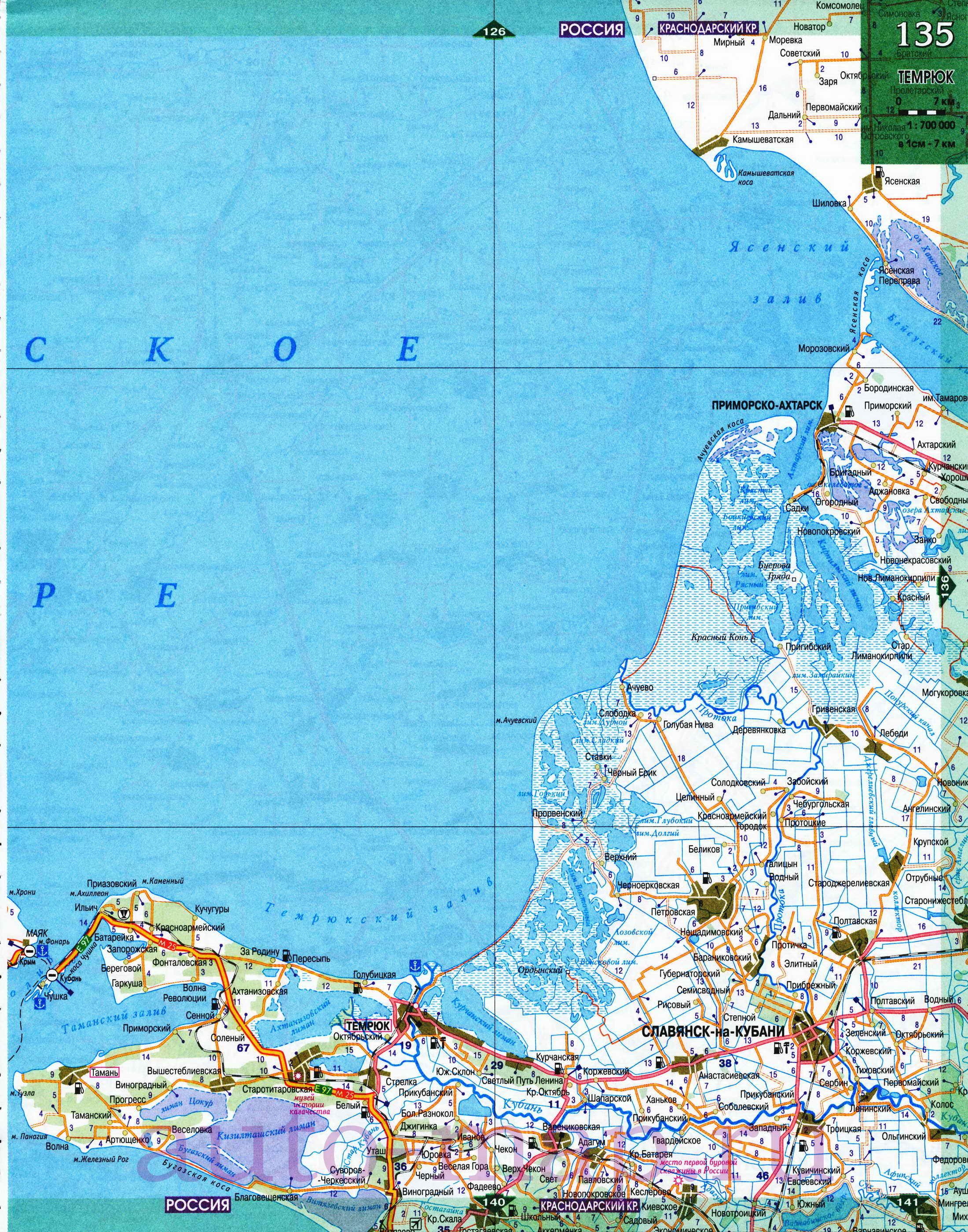 Краснодарский край - автомобильные дороги.  Карта Краснодарского края.
