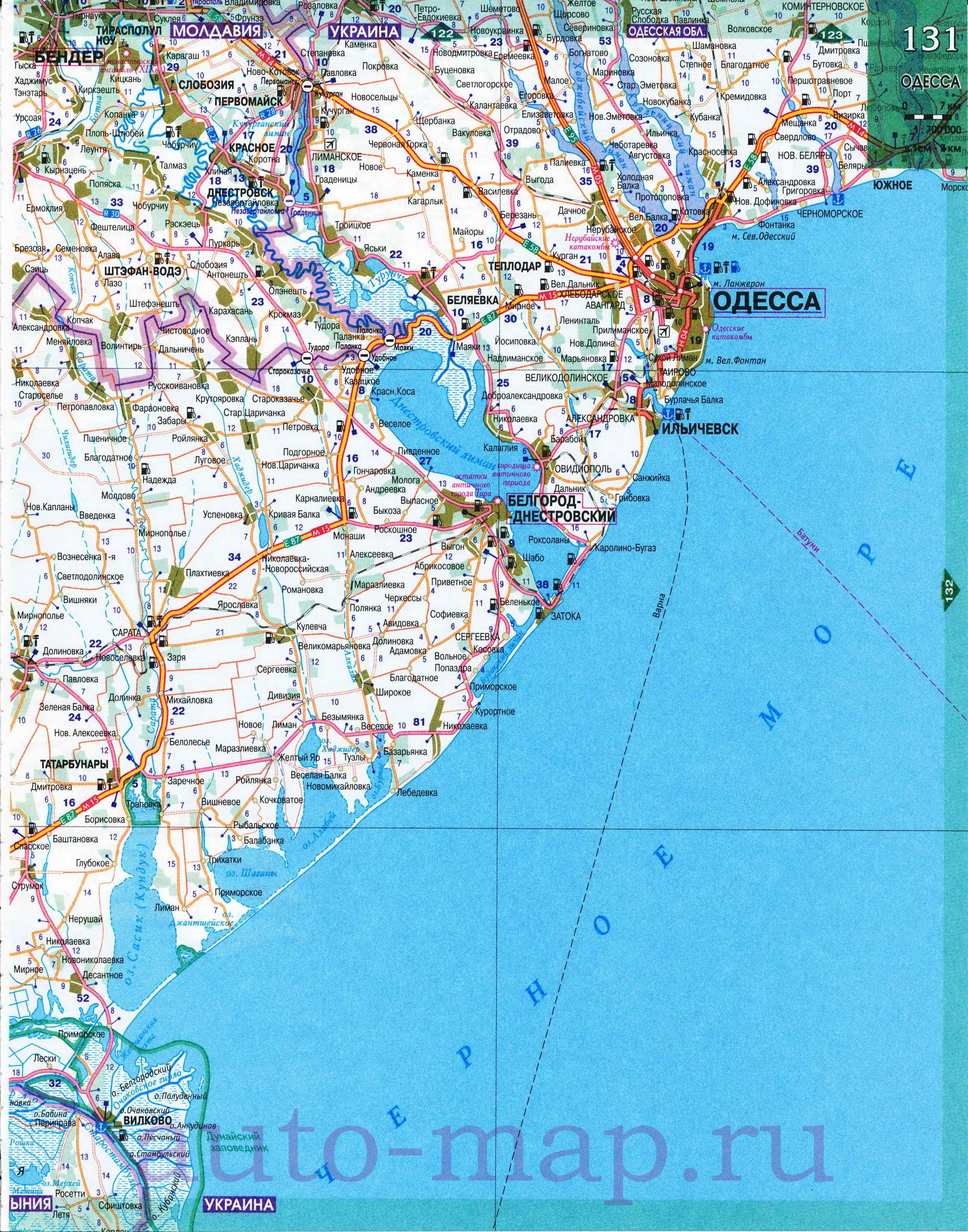Схема курорта черноморского побережья