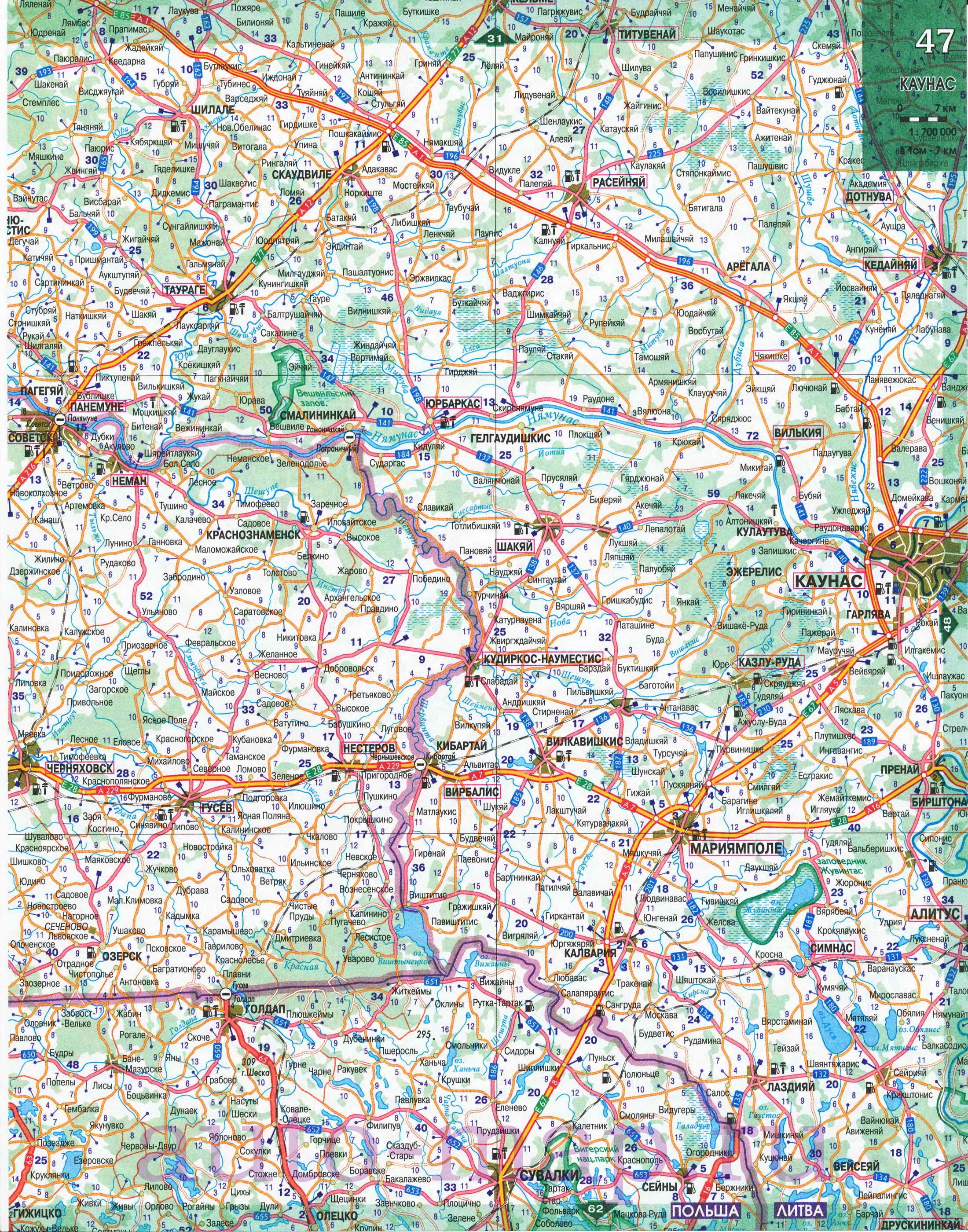 Большая подробная карта автомобильных дорог Белоруссии.
